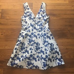 Betsey Johnson White and Blue Floral V Neck Dress